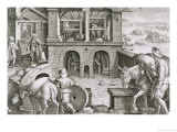 "A Water Mill, Plate 11 from ""Nova Reperta"" circa 1600 Giclee Print by Jan van der Straet"