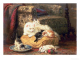 Cat with Her Kittens on a Cushion Giclee Print by Henriette Ronner-Knip