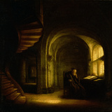 Philosopher with an Open Book, 1625-7 Gicle-tryk af Rembrandt van Rijn