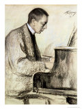 Portrait of Sergei Vasilievich Rachmaninov at the Piano, 1916 Giclee Print by Leonid Osipovic Pasternak