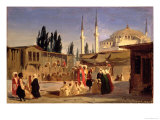 The Slave's Bazaar, Constantinople Giclee Print by Ippolito Caffi