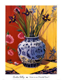 Irises in an Oriental Vase I Print by Curtis Kelly
