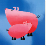 Oink! Oink! Stretched Canvas Print by Rachel Deacon