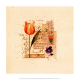 Flower Notes with Orange Tulip Print by Audra Chaitram