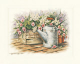 Watering Can and Impatiens Print by Peggy Thatch Sibley