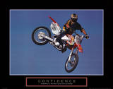 Confidence Motorbiker in Air Motivational Konst