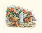 Watering Can and Geraniums Posters by Peggy Thatch Sibley