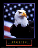 Courage: Eagle and Flag Poster