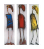 Trio of Odd Birds Print by Janet Waring