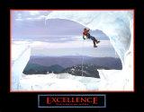 Excelencia: escalador en la nieve Pósters