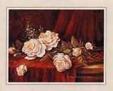 White Roses on Red Velvet Art by Peggy Thatch Sibley