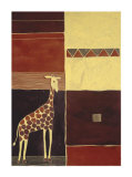 Giraffe on African Motif Prints by Dominique Gaudin