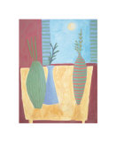 Terracotta Interior with Full Moon Prints by Louise Waugh