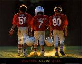 Winnaars geven nooit op, jeugdige American football spelers, met Engelse tekst: Winners Never Quit Posters