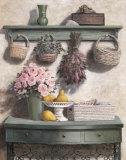 Korb und Rosen (rosa) Poster von T. C. Chiu