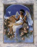Schwarzer Engel mit Taube Kunstdruck von T. C. Chiu