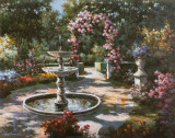 Garden Fountain Print by T. C. Chiu