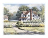 Country Home with Forsythia Art by T. C. Chiu