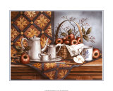 Pewter Tea Set with Apples Prints by T. C. Chiu