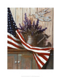 Flag with Purple Flowers Posters af T. C. Chiu