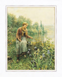 Girl Fishing Posters by Daniel Ridgway Knight