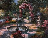 Gartenspringbrunnen Poster von T. C. Chiu