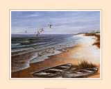 Two Rowboats on Beach Prints by T. C. Chiu