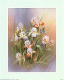 Blauer Schmetterling und Iris Kunst von T. C. Chiu