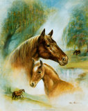 Brown Mare and Fowl Art by Ruane Manning