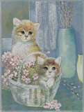 Kittens in Wicker Basket Prints by Ruane Manning