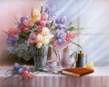 Teekanne und Iris Poster von T. C. Chiu