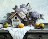 Vogelhäuschen, Hortensie, Apfel Kunst von T. C. Chiu