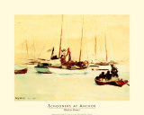 Schooners at Anchor Print by Winslow Homer