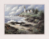 Lighthouse and Boat Prints by George Bjorkland