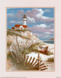 Lighthouse with Deserted Canoe Print by T. C. Chiu