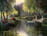 See in einem Weidenpark Kunstdrucke von T. C. Chiu