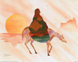 On Horse at Sunrise Prints by Terry Madden
