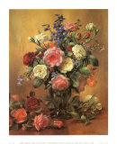 Roses in a Blue Vase Posters by Albert Williams