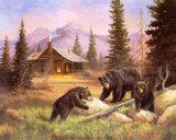Ours sur des troncs Affiches par M. Caroselli