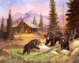 Bears on Log Poster by M. Caroselli