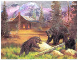 Bears on Logs Prints by M. Caroselli