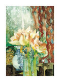 Pink Amaryllis, Red Curtain Poster by Shirley Trevena