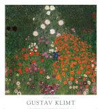 Jardin fleuri Poster par Gustav Klimt