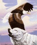 Adler im Flug mit Wolf Poster von Gary Ampel