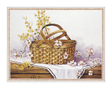 Wicker Basket of Blooms Prints by Peggy Thatch Sibley