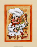 Will Work for Wine Affiches par Jerianne Van Dijk