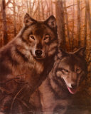 Wolves Pair Poster by T. C. Chiu