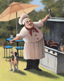 Barbecue-Koch – Hund Kunstdrucke von T. C. Chiu