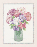 Petunias in a Milk Jar Art by Sharon Medler