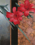 Red Orchid with Teal Damasque Prints by T. C. Chiu